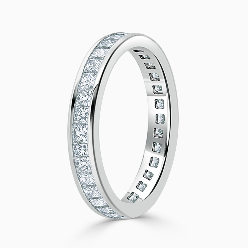 18ct White Gold 3.25mm Princess Cut Channel Set Full Eternity Ring