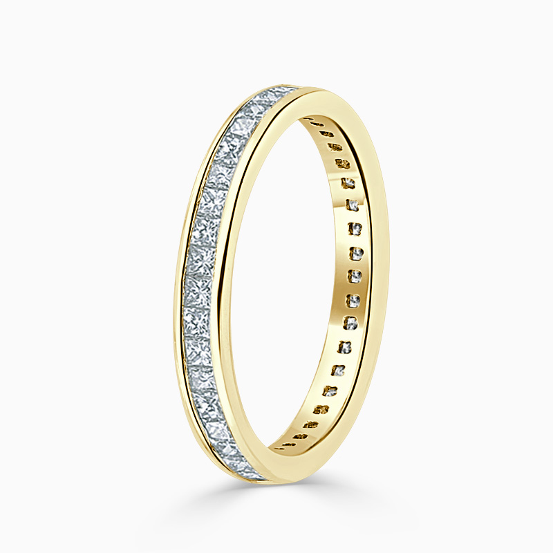 18ct Yellow Gold 2.75mm Princess Cut Channel Set Full Eternity Ring