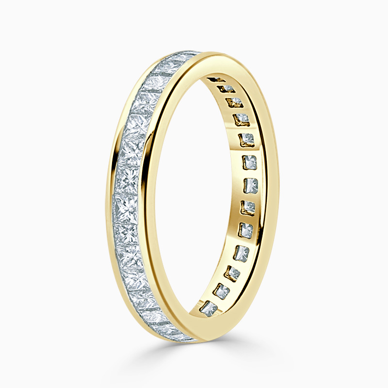 18ct Yellow Gold 3.25mm Princess Cut Channel Set Full Eternity Ring