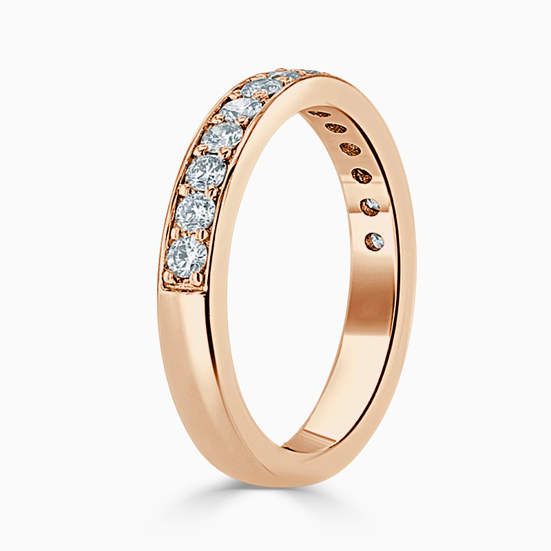 18ct Rose Gold 3.50mm Round Brilliant Pavé Set Half Eternity Ring