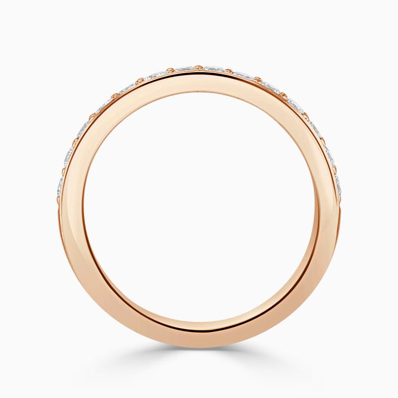 18ct Rose Gold 3.50mm Round Brilliant Pavé Set Half Eternity Ring