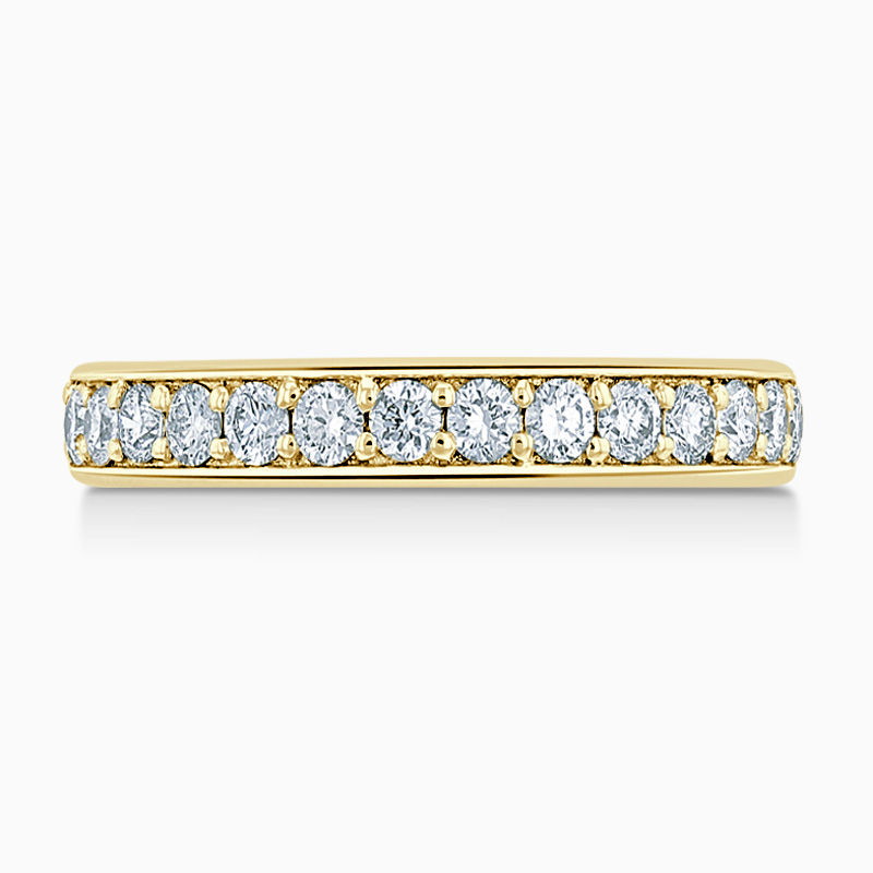 18ct Yellow Gold 3.50mm Round Brilliant Pavé Set Half Eternity Ring