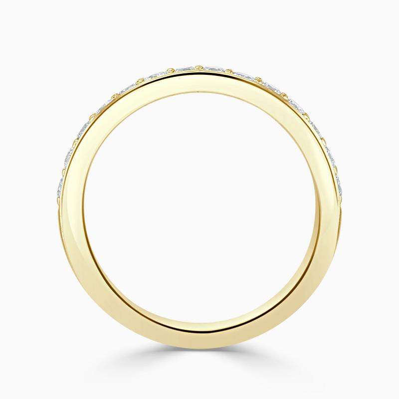 18ct Yellow Gold 3.50mm Round Brilliant Pavé Set Half Eternity Ring