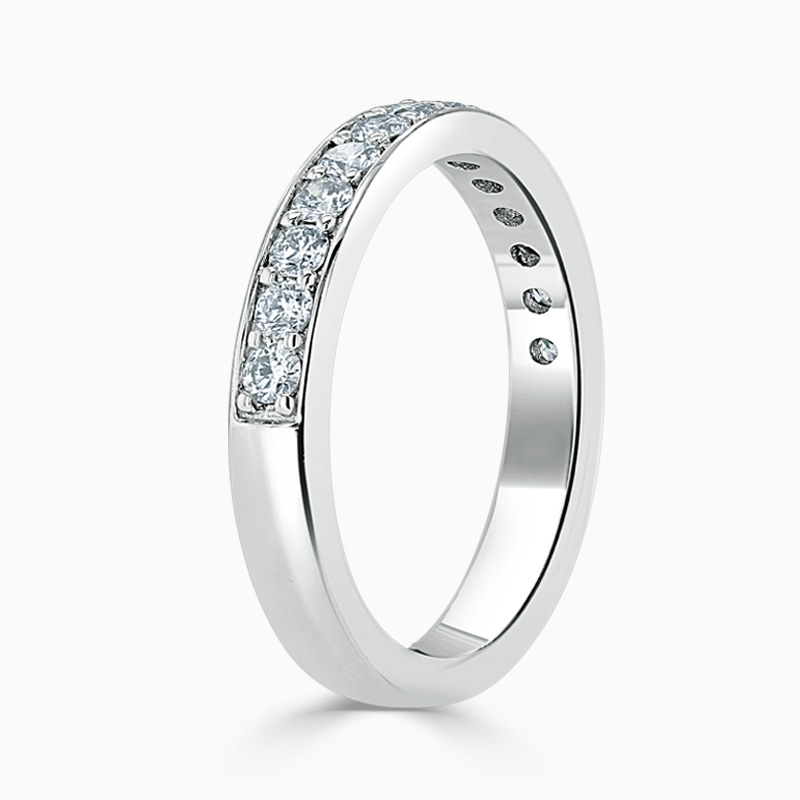 Platinum 3.50mm Round Brilliant Pavé Set Half Eternity Ring