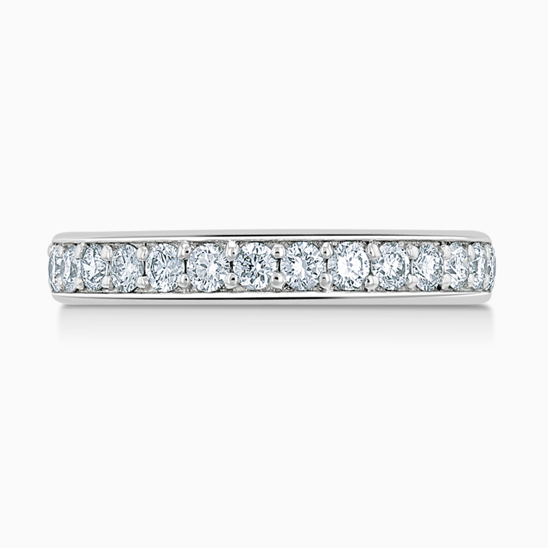 18ct White Gold 3.25mm Round Brilliant Pavé Set Half Eternity Ring