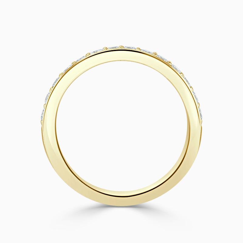 18ct Yellow Gold 3.25mm Round Brilliant Pavé Set Half Eternity Ring