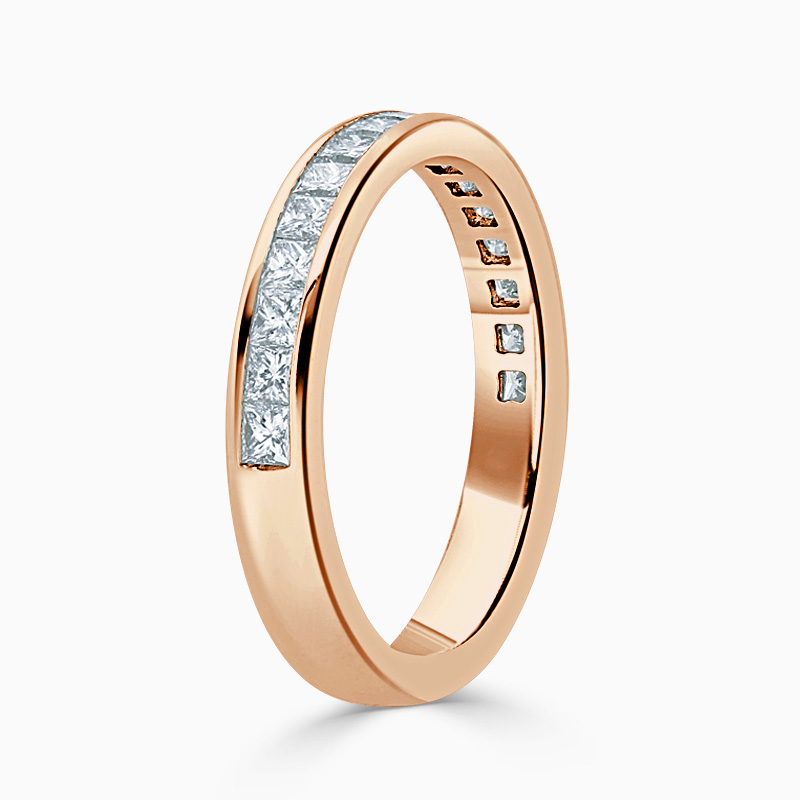 18ct Rose Gold 3.25mm Princess Cut Channel Set Half Eternity Ring