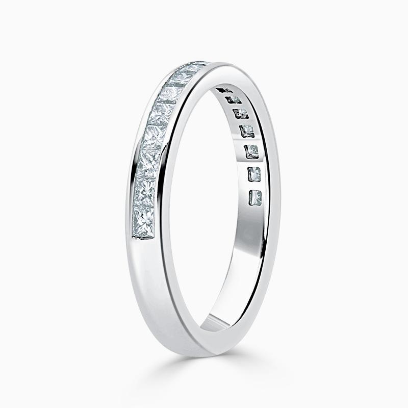 18ct White Gold 2.75mm Princess Cut Channel Set Half Eternity Ring