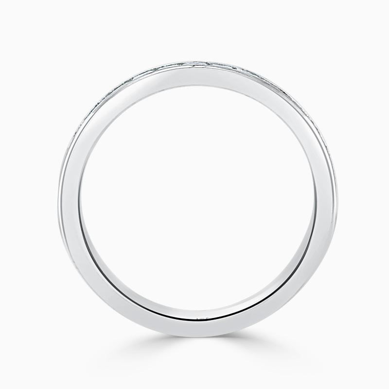 Platinum 2.75mm Princess Cut Channel Set Half Eternity Ring