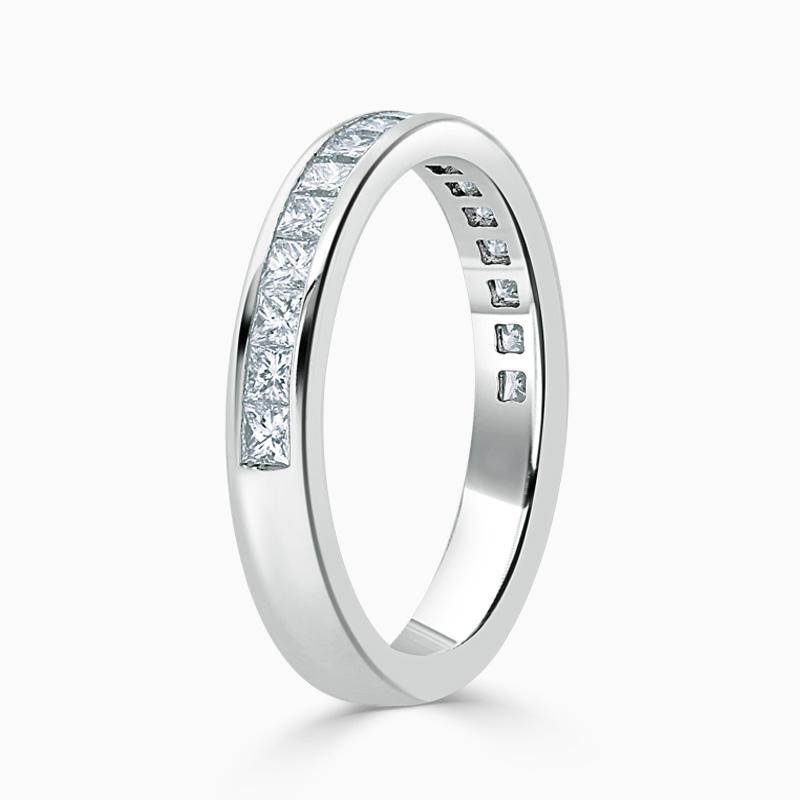 Platinum 3.25mm Princess Cut Channel Set Half Eternity Ring