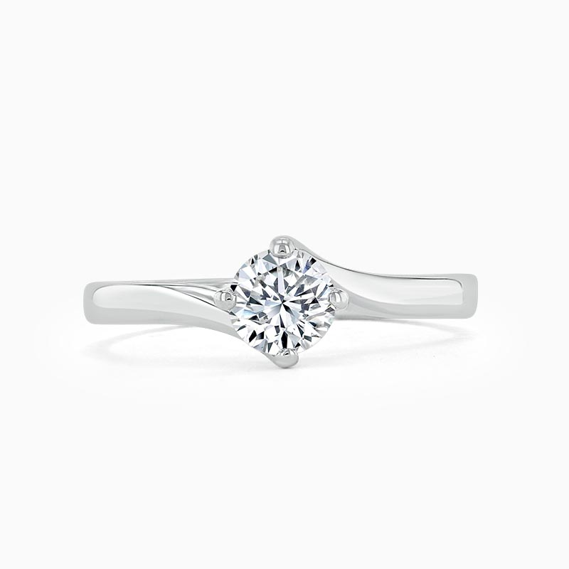 Platinum Round Brilliant Twist Engagement Ring