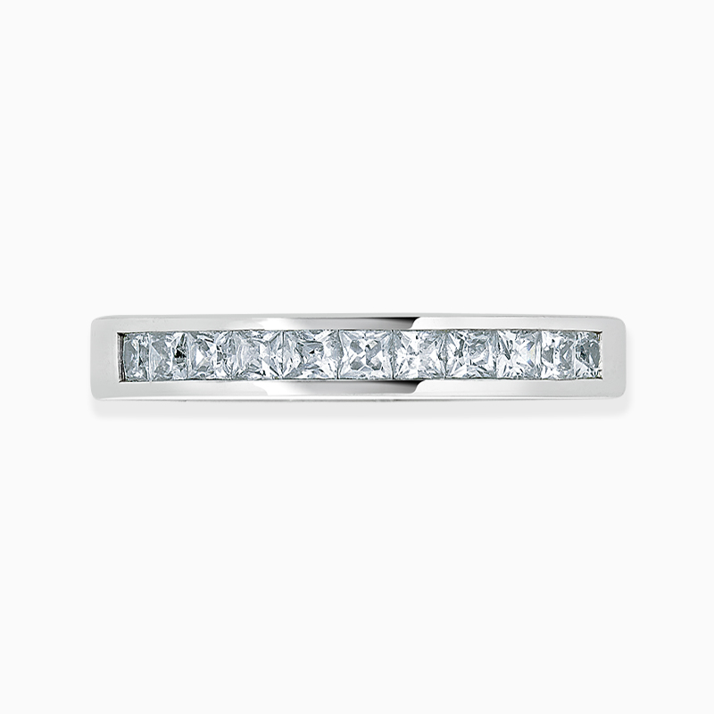18ct White Gold 2.50mm Princess Cut Channel Set Half Eternity Ring