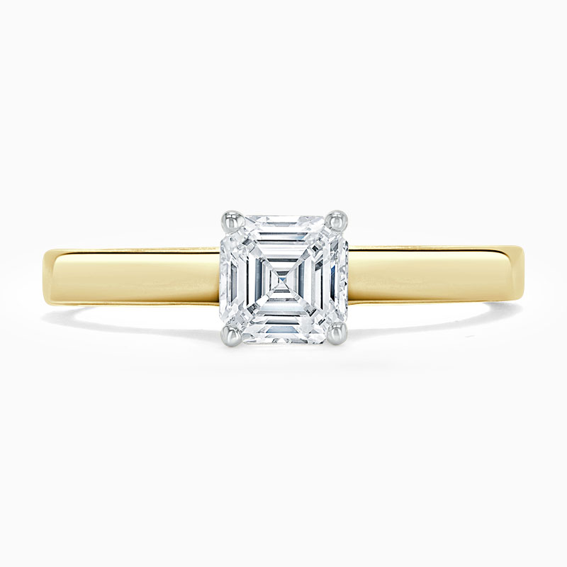18ct Yellow Gold Asscher Cut Openset Engagement Ring