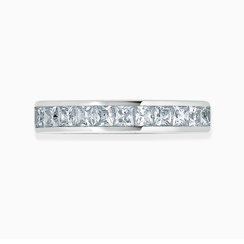 18ct White Gold 3.50mm Princess Cut Channel Set Full Eternity Ring