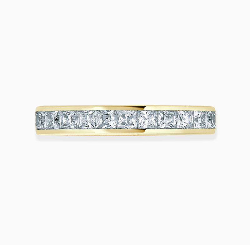 18ct Yellow Gold 3.00mm Princess Cut Channel Set Full Eternity Ring