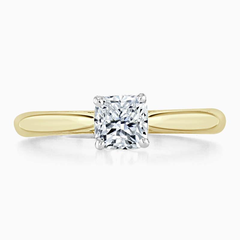18ct Yellow Gold Cushion Cut Classic Wedfit Engagement Ring