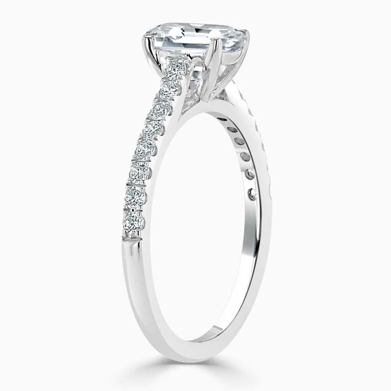 Platinum Emerald Cut Classic Wedfit Cutdown Engagement Ring