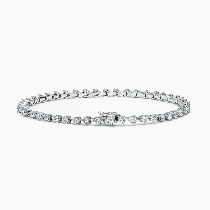 18ct White Gold Round Brilliant Diamond 3 Claw Line Bracelet