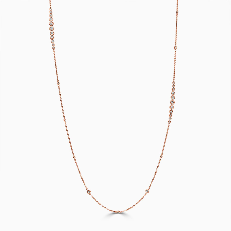 18ct Rose Gold Rubover Set Long Diamond Necklace