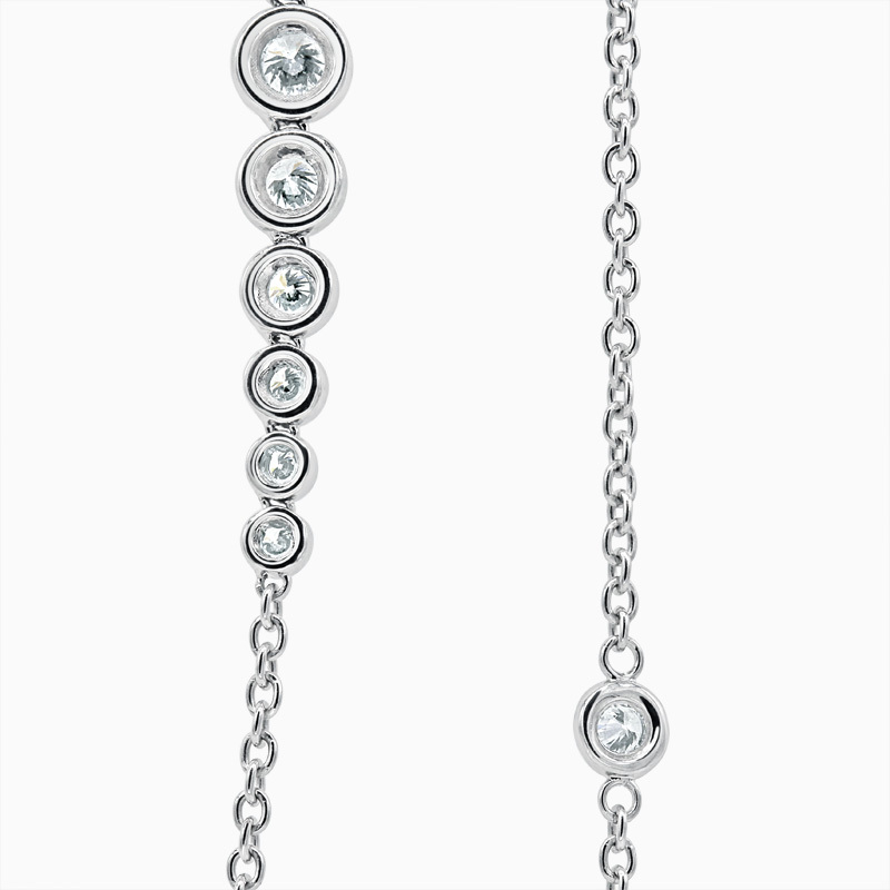 18ct White Gold Rubover Set Long Diamond Necklace