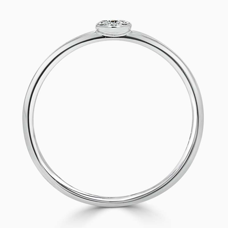18ct White Gold Pavé Disc Diamond Ring