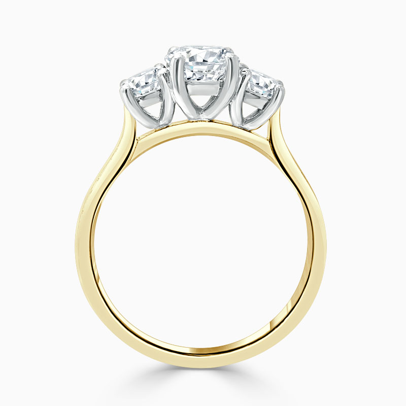 18ct Yellow Gold Round Brilliant 3 Stone with Rounds Engagement Ring