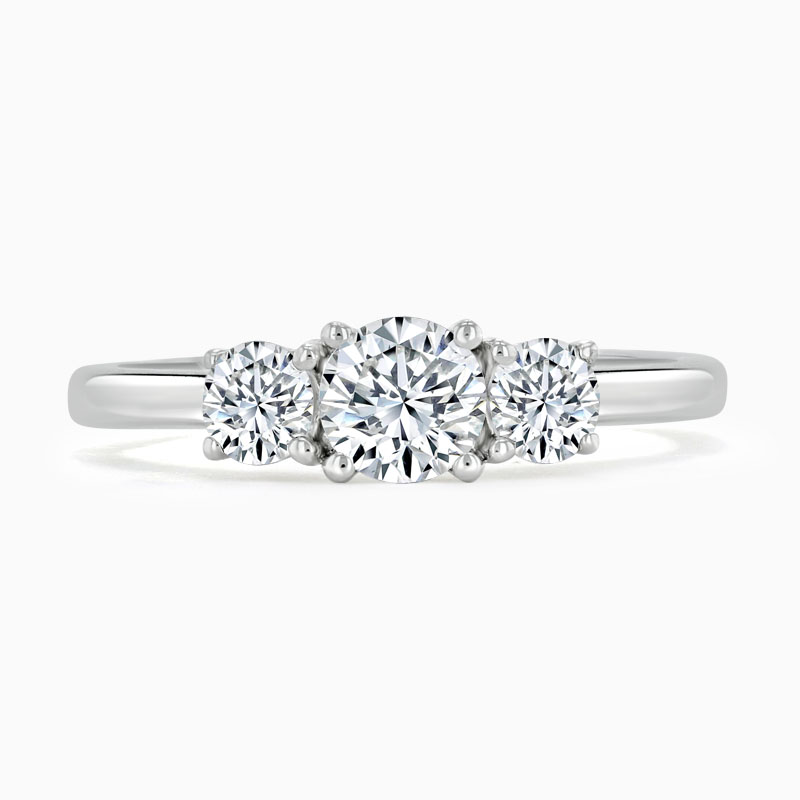 Platinum Round Brilliant 3 Stone with Rounds Engagement Ring