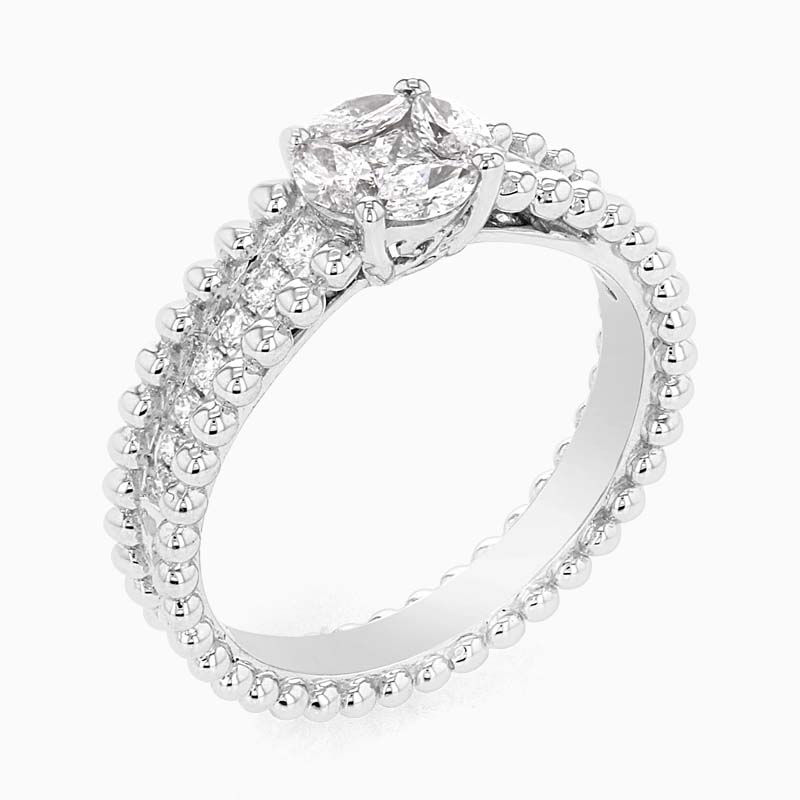 Marquise, Princess Cut & Round Diamond Cluster Ring