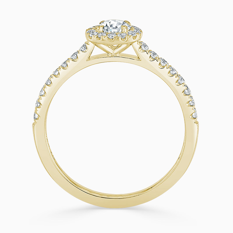 18ct Yellow Gold Round Brilliant Classic Wedfit Halo Engagement Ring with Round, 0.25ct, E Colour, VS2 Clarity - GIA