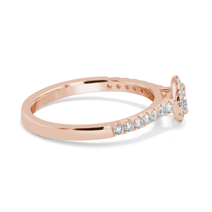 18ct Rose Gold Round Brilliant Classic Wedfit Halo Engagement Ring with Round, 0.3ct, G Colour, VS2 Clarity - GIA