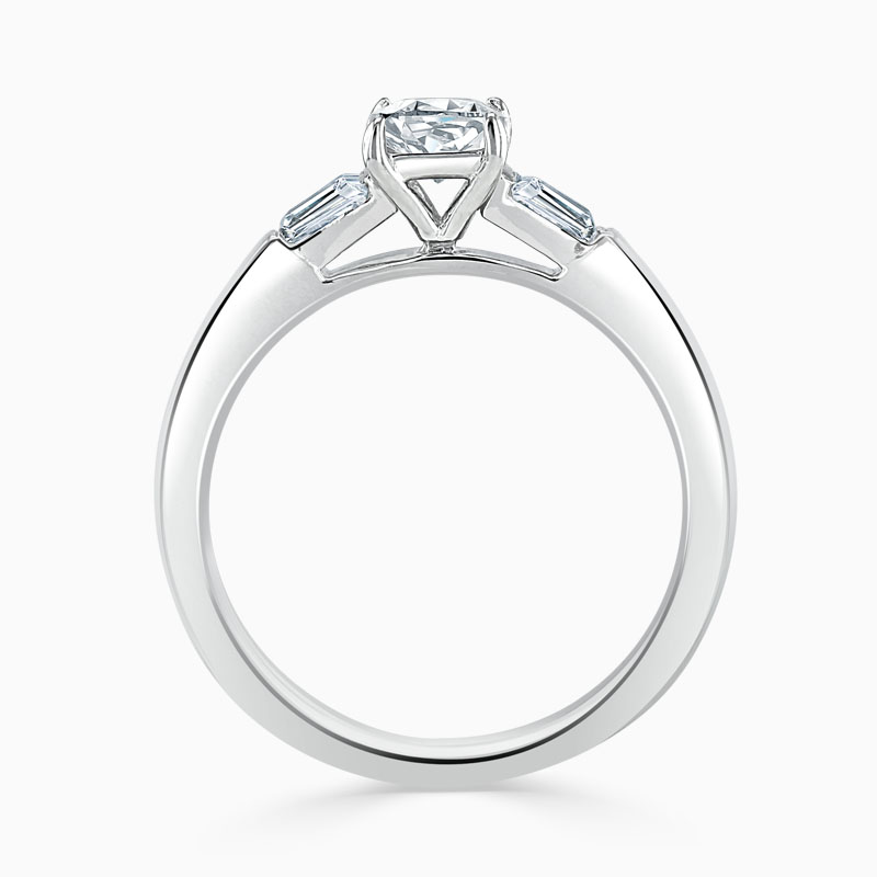 18ct White Gold Cushion Cut 3 Stone with Tapers Engagement Ring