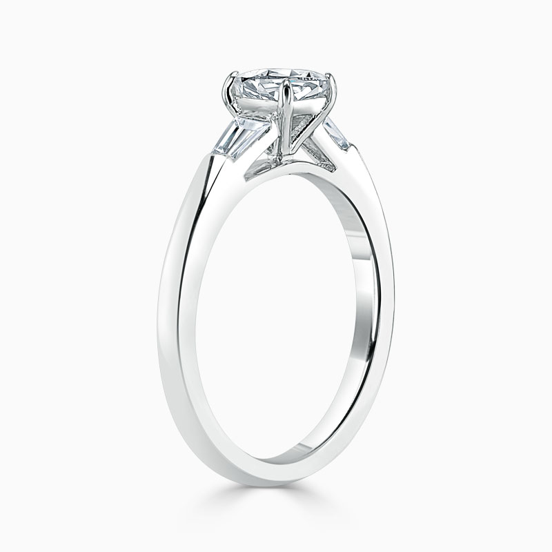 Platinum Cushion Cut 3 Stone with Tapers Engagement Ring