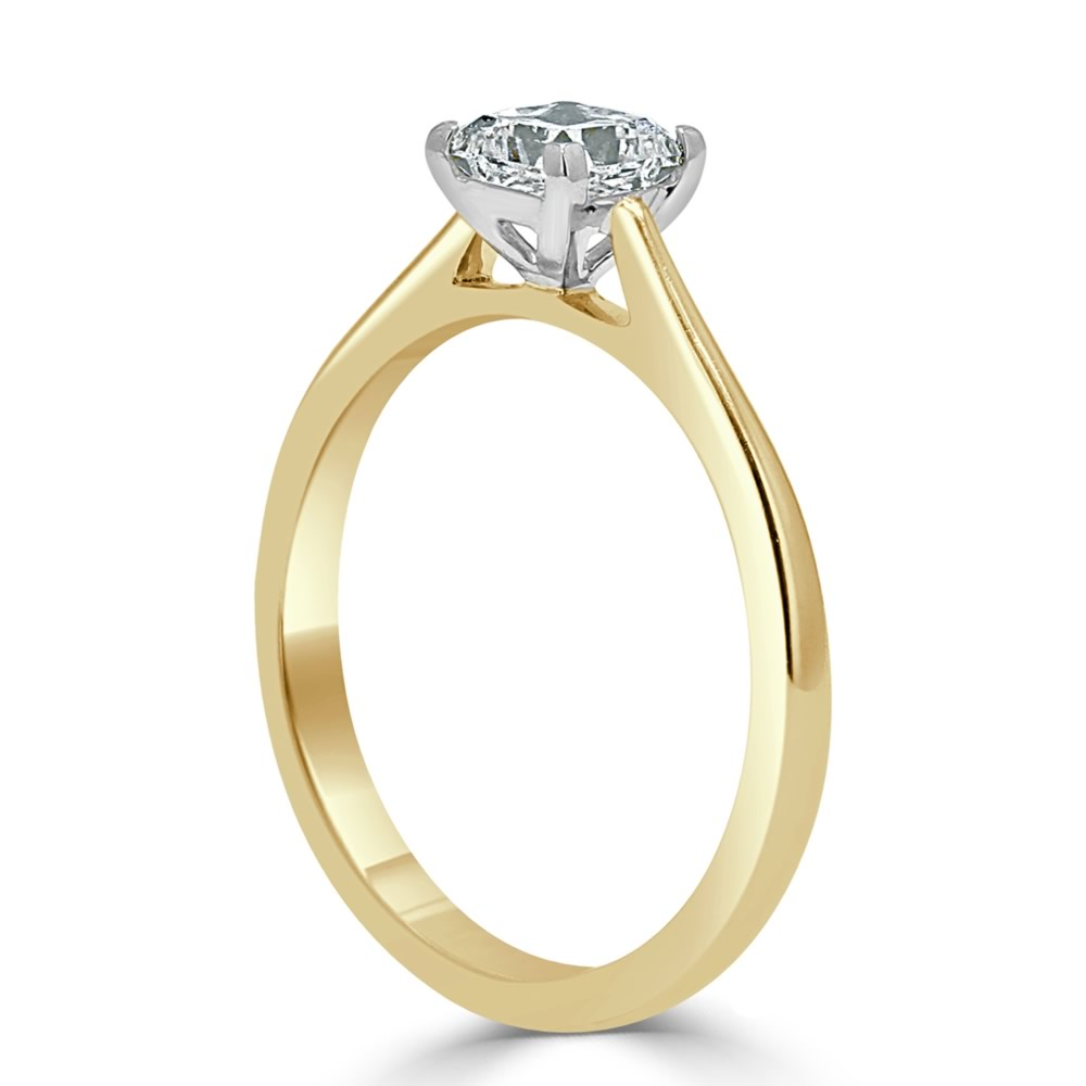 18ct Yellow Gold Princess Cut Classic Wedfit Engagement Ring with Princess, 0.69ct, G Colour, VS1 Clarity - GIA