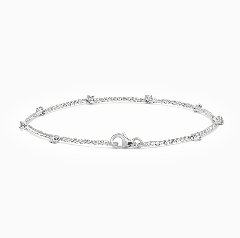 18ct White Gold Diamond Set Twisted Bracelet