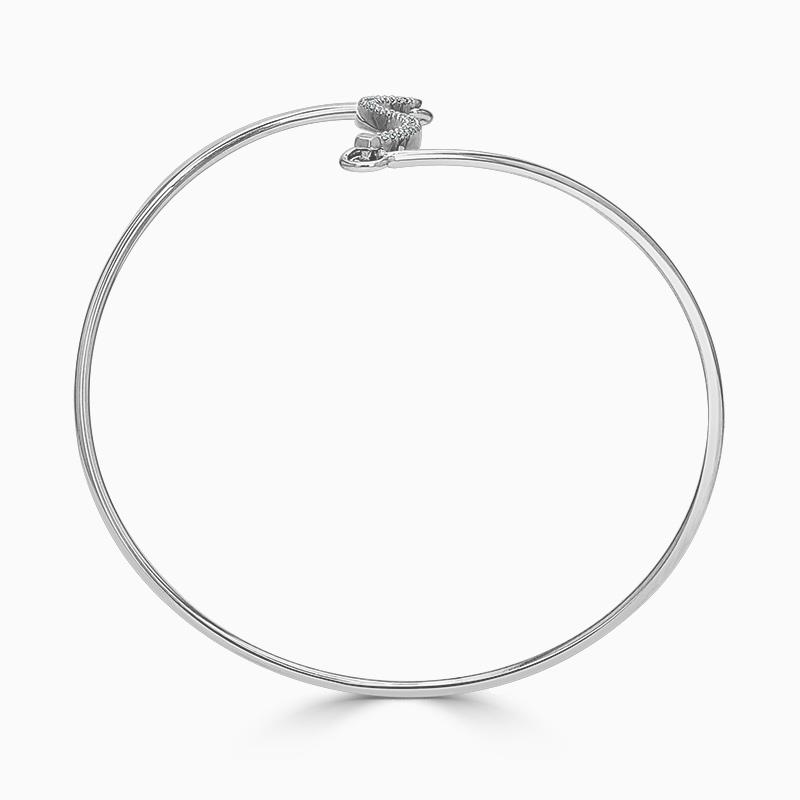 18ct White Gold Curved Bar Diamond Bangle