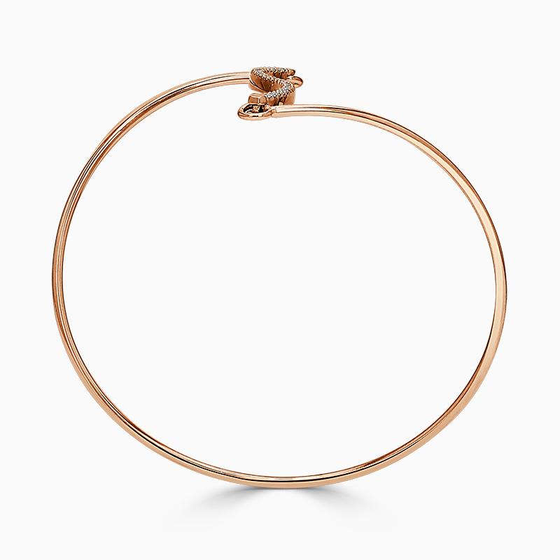 18ct Rose Gold Curved Bar Diamond Bangle