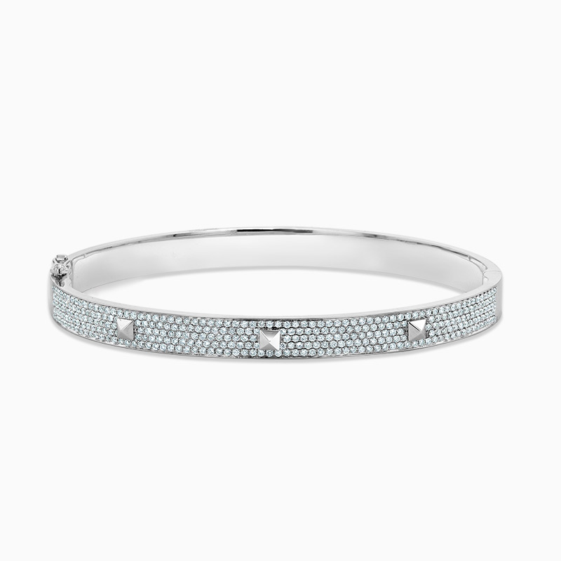18ct White Gold Pavé Diamond Stud Bangle
