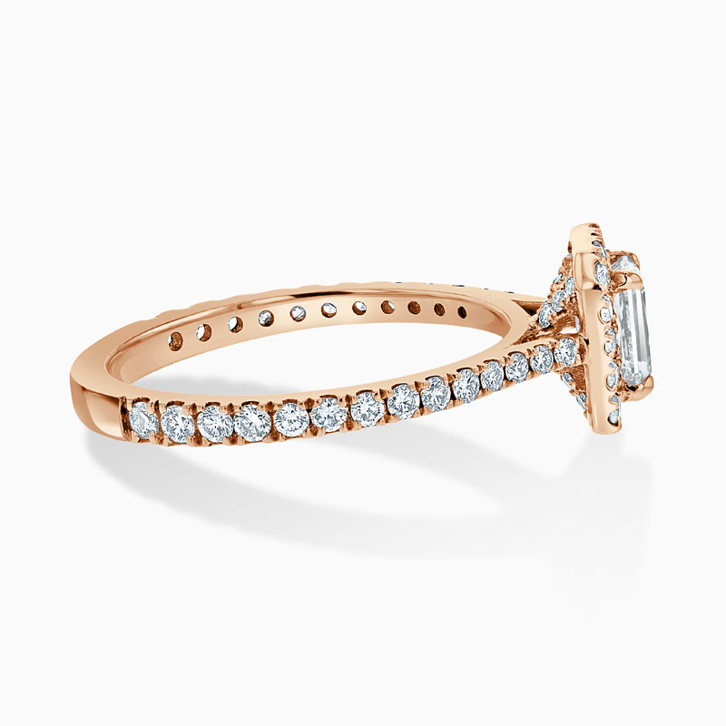18ct Rose Gold Crisscut Classic Wedfit Halo Engagement Ring with Crisscut, 0.54ct, G Colour, VVS2 Clarity - GIA