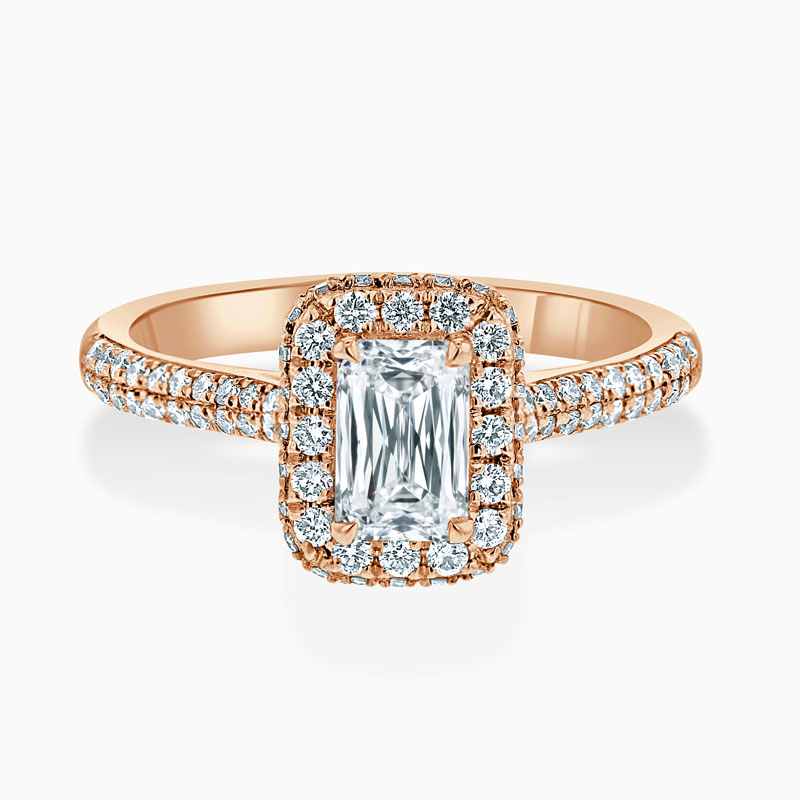 18ct Rose Gold Crisscut Luxe Halo Engagement Ring with Crisscut, 0.69ct, G Colour, VVS2 Clarity - GIA