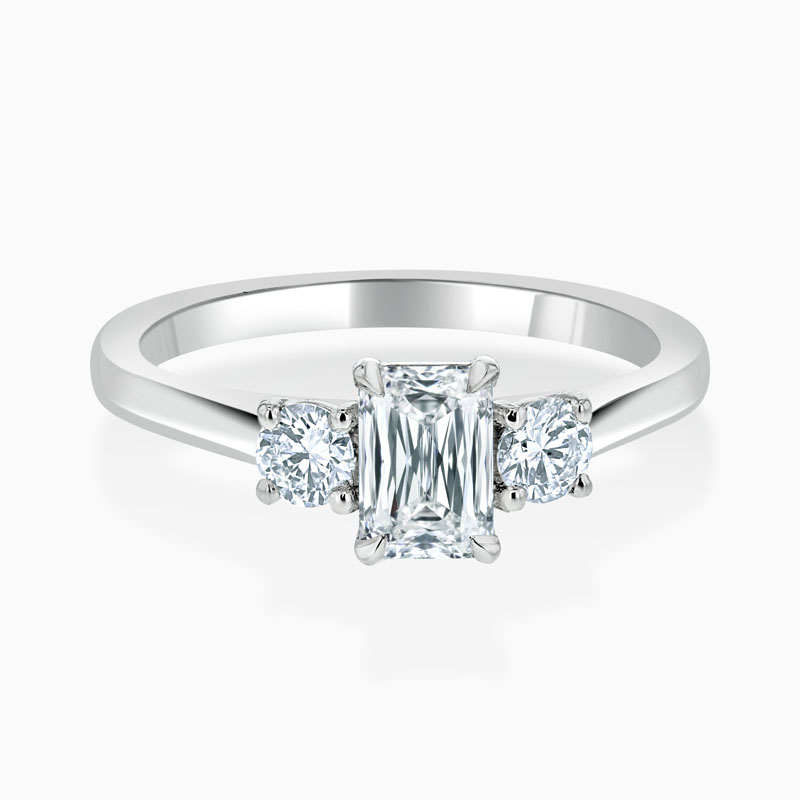 Platinum Crisscut Crisscut 3 Stone With Rounds Engagement Ring with Crisscut, 0.69ct, G Colour, VVS2 Clarity - GIA