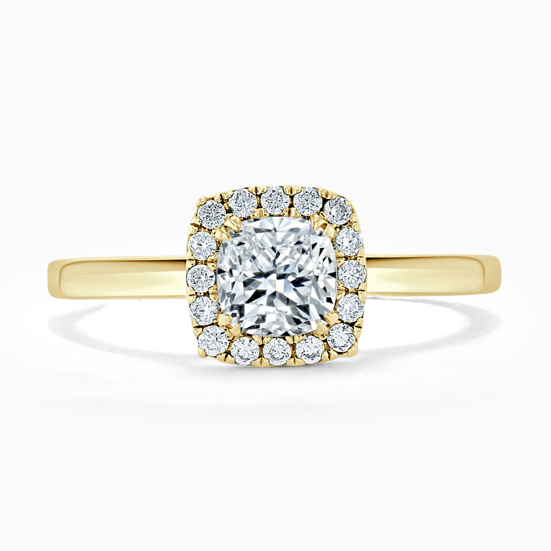 18ct Yellow Gold Cushion Cut Classic Plain Halo Engagement Ring