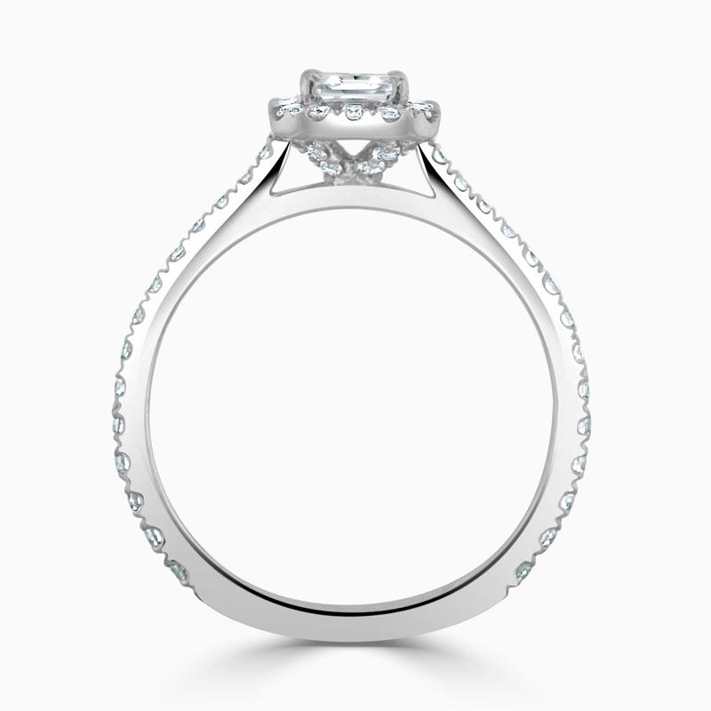 [PDR2915] Platinum Crisscut Classic Wedfit Halo Engagement Ring with Crisscut, 0.51ct, F Colour, VS1 Clarity - GIA (G)