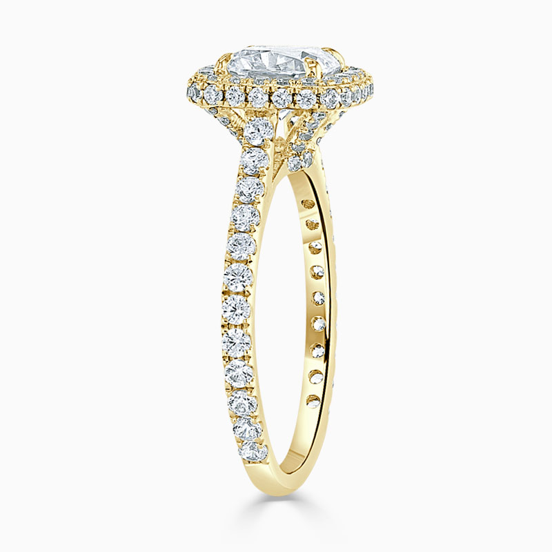 18ct Yellow Gold Cushion Cut Original Halo Engagement Ring