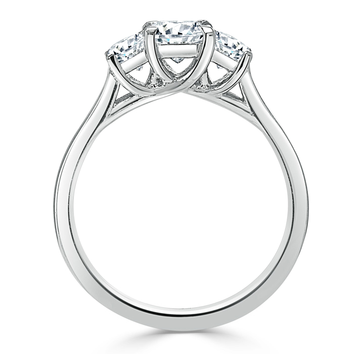 Platinum Round Brilliant Openset 3 Stone Engagement Ring