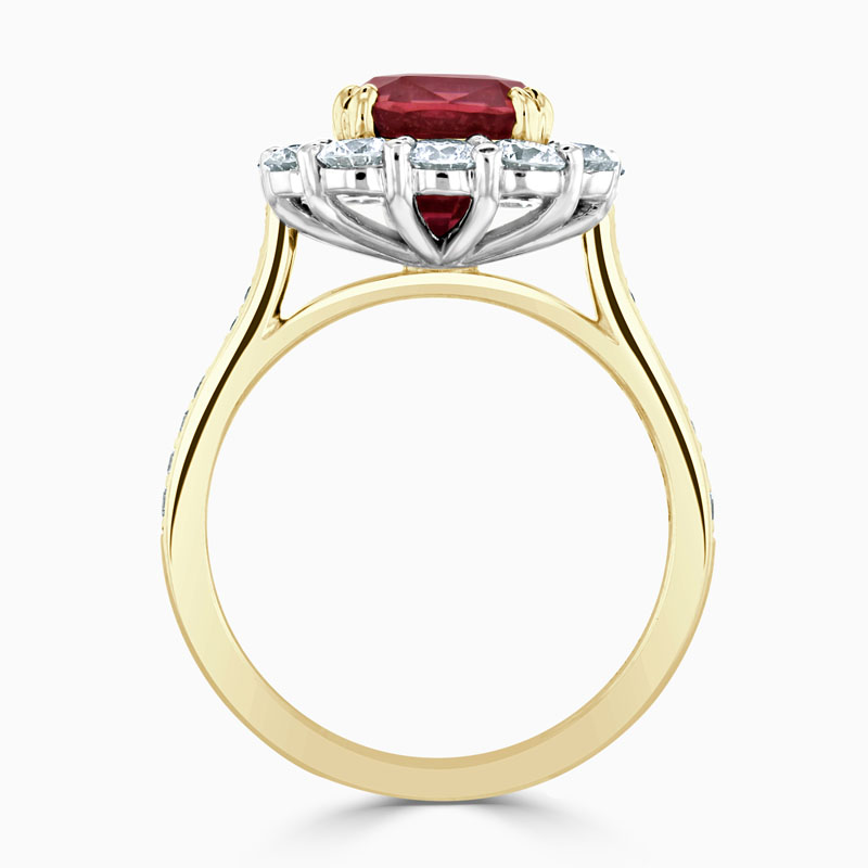 18ct Yellow Gold Ruby and Diamond Cluster Ring