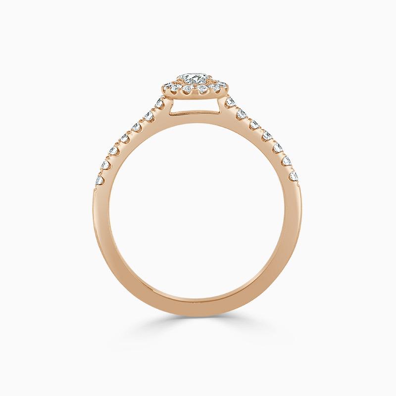 18ct Rose Gold Round Brilliant Halo Diamond Engagement Ring
