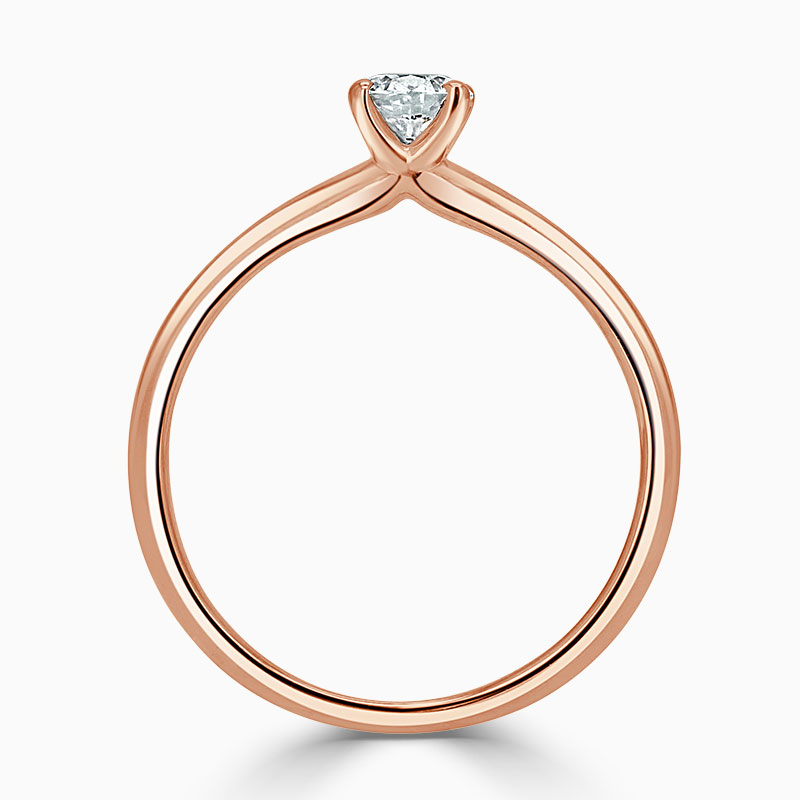 18ct Rose Gold Round Brilliant Simplicity Engagement Ring with Round, 0.3ct, F Colour, VS2 Clarity - GIA