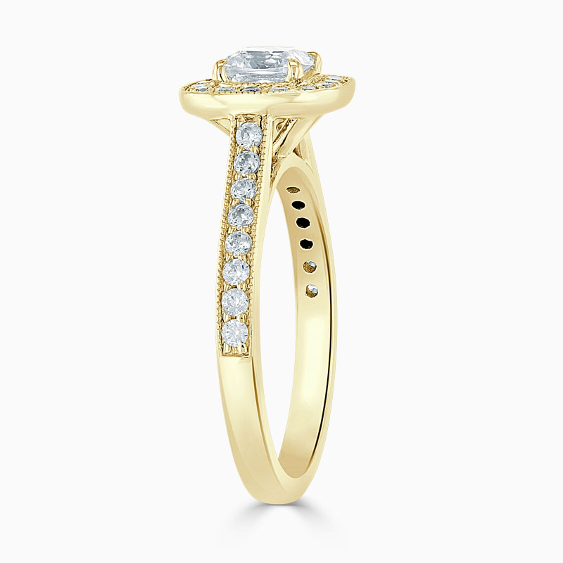 18ct Yellow Gold Cushion Cut Vintage Pavé Halo Engagement Ring