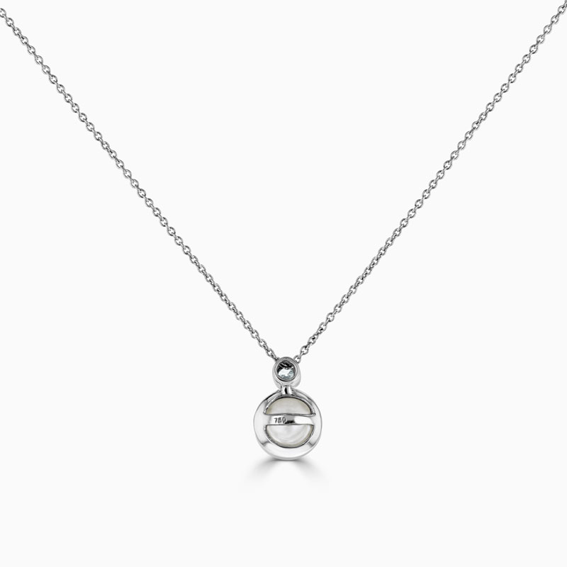 18ct White Gold Single Pearl and Diamond Pendant