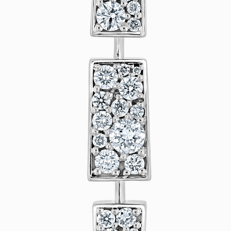 18ct White Gold Vintage Diamond Drop Earrings